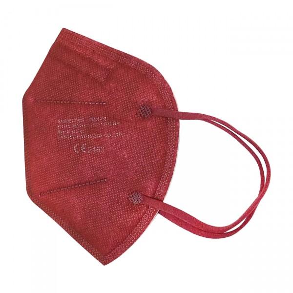 FFP2 Maske (Box 20 Stk) - Große M (Jugendlich) Farbe: Weinrot