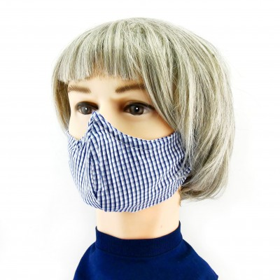 Gesichtsmaske - Kleinkariert blauweiss