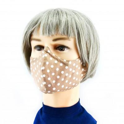 Gesichtsmaske - Beige /weisse Punkte