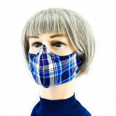 Gesichtsmaske - Kariert grau/blau