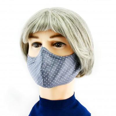 Gesichtsmaske - Gepunktet grau mit weissen Pünktchen