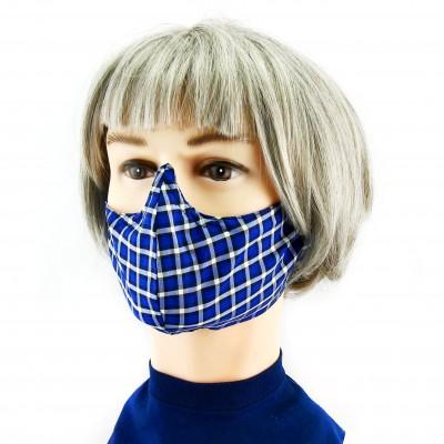 Gesichtsmaske - Kariert/gestreift blau/schwarz