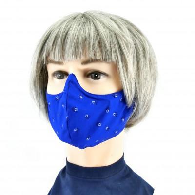 Gesichtsmaske - Königsblau/schwarzweiss Muster