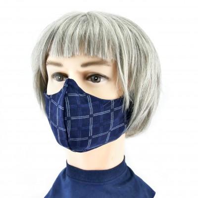 Gesichtsmaske - Grosse Karos dunkelgrau/blau
