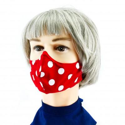 Gesichtsmaske - Gepunktet rot mit weiss