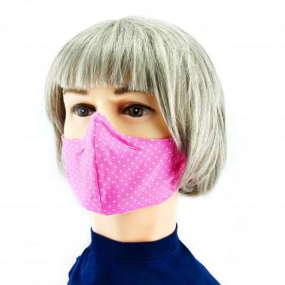 Gesichtsmaske - Gepunktet Pink weiss
