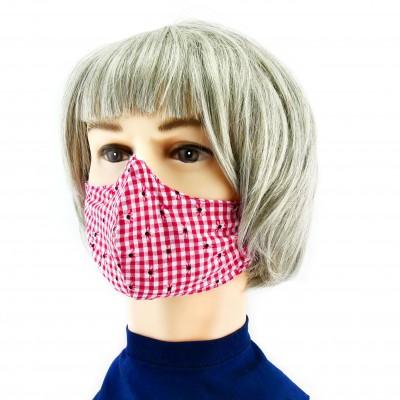 Gesichtsmaske - Kariert rotweiss