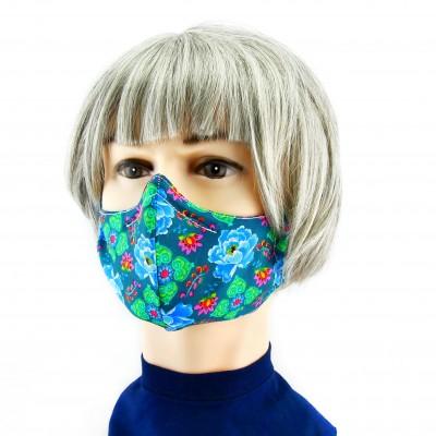 Gesichtsmaske - Grün mit bunte Blumen