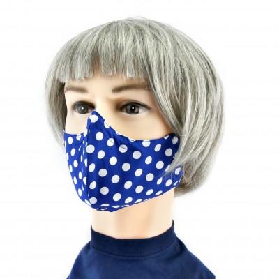 Gesichtsmaske - Gepunktet jeansblau/ weiss