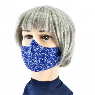 Gesichtsmaske - Blauweisse Blumen