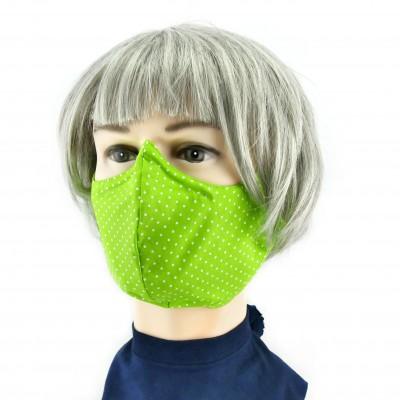 Gesichtsmaske - Gepunktet grasgrün weiss